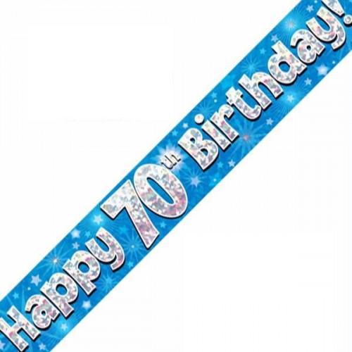 Blue 70th Birthday Foil Banner (9ft)