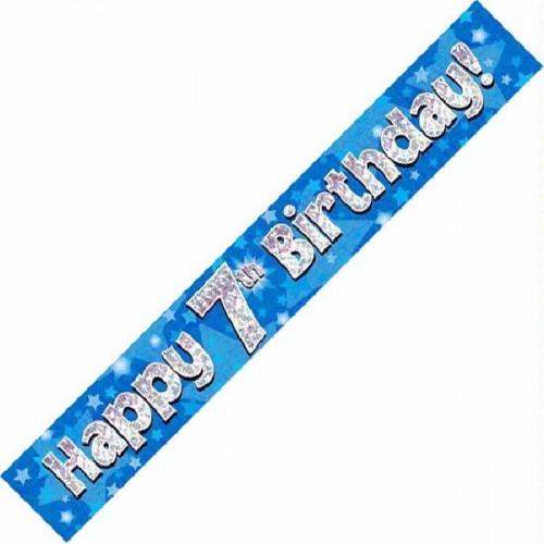 Blue 7th Birthday Foil Banner (9ft)