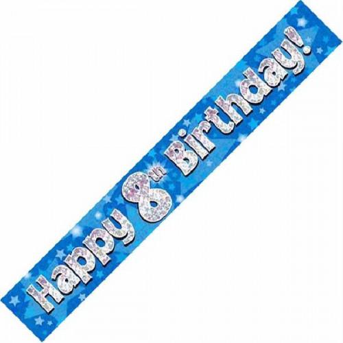 Blue 8th Birthday Foil Banner (9ft)