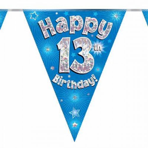 Blue Happy 13th Birthday Bunting