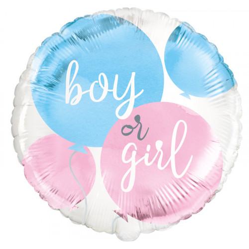 Boy or Girl Gender Reveal Foil Balloon