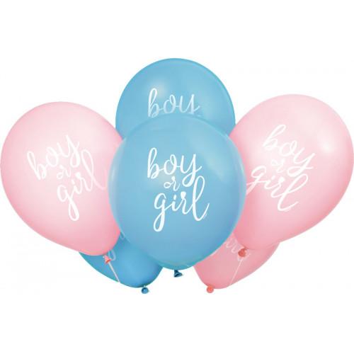 Boy or Girl Gender Reveal Latex Balloons (Pack of 8)