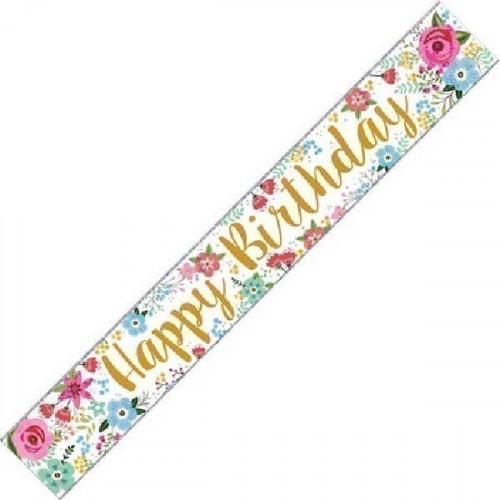Flower Birthday Foil Banner (9ft)