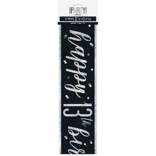Glitz Black 13th Birthday Banner (9ft)