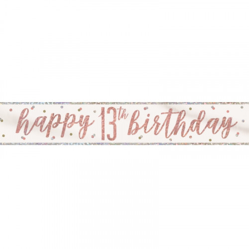 Glitz Rose Gold 13th Birthday Banner (9ft)