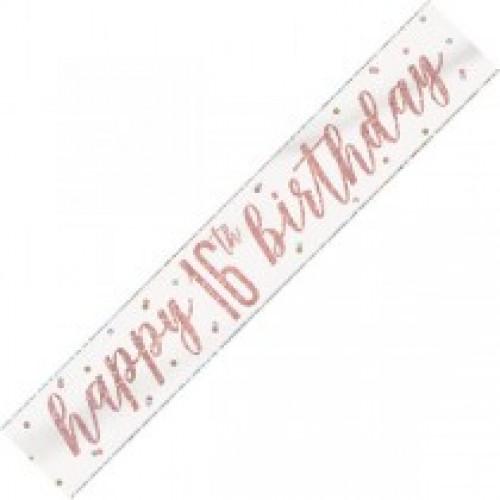 Glitz Rose Gold 16th Birthday Banner (9ft)