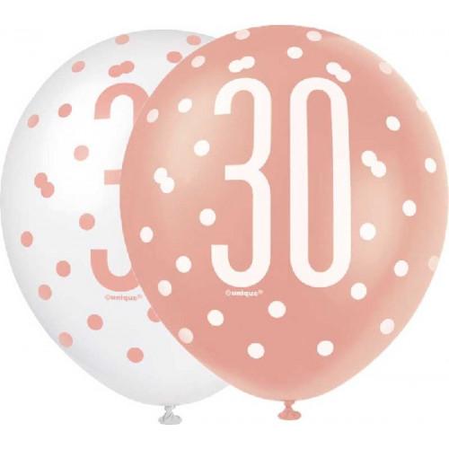 Glitz Rose Gold 30th Birthday Latex Balloons (Pack of 6)