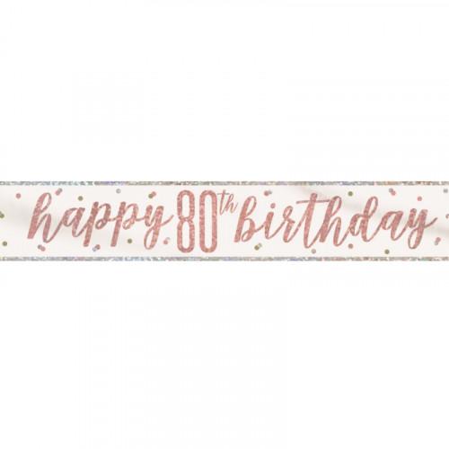 Glitz Rose Gold 80th Birthday Banner (9ft)