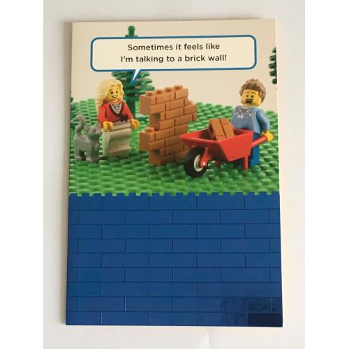Lego Birthday Card - Talking To A Brick Wall!
