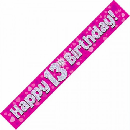 Pink 13th Birthday Foil Banner (9ft)