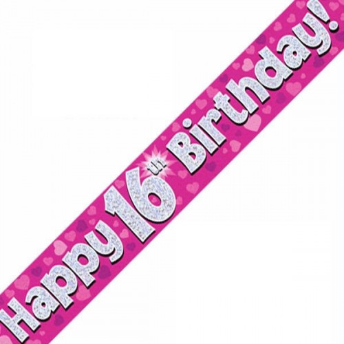 Pink 16th Birthday Foil Banner (9ft)