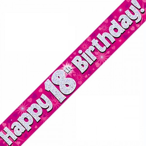 Pink 18th Birthday Foil Banner (9ft)