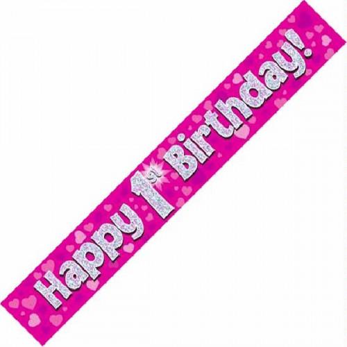 Pink 1st Birthday Foil Banner (9ft)