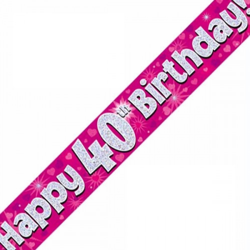 Pink 40th Birthday Foil Banner (9ft)