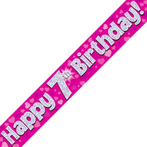 Pink 7th Birthday Foil Banner (9ft)