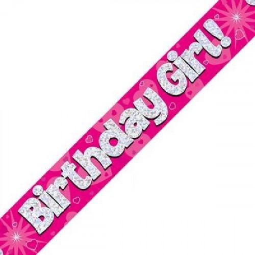 Pink Birthday Girl Foil Banner (9ft)