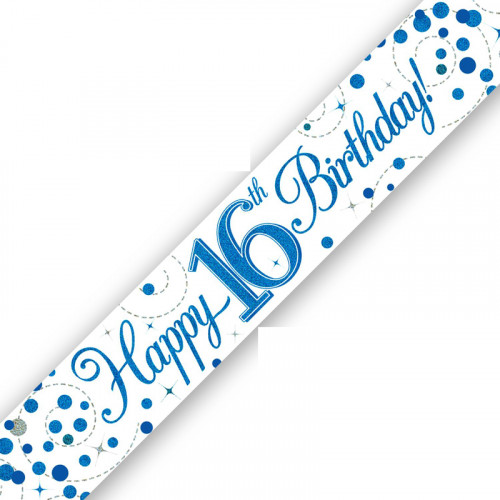 White & Blue 16th Birthday Foil Banner (9ft)