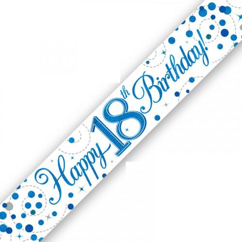 White & Blue 18th Birthday Foil Banner (9ft)
