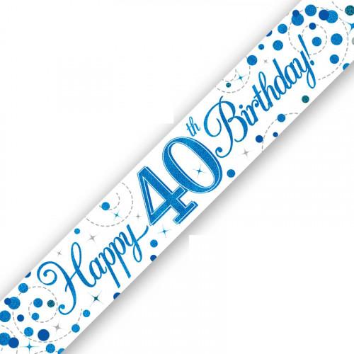 White & Blue 40th Birthday Banner (9ft)