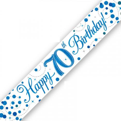 White & Blue 70th Birthday Foil Banner (9ft)