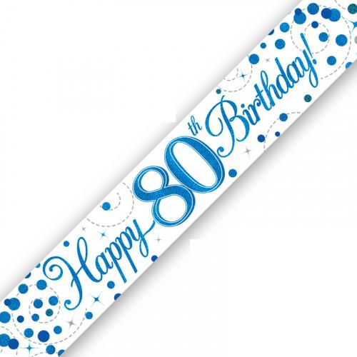 White & Blue 80th Birthday Foil Banner (9ft)