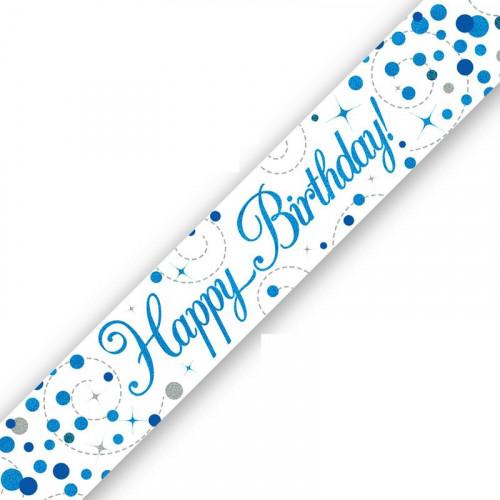 White & Blue Happy Birthday Foil Banner (9ft)