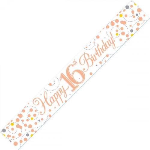 White & Rose Gold 16th Birthday Foil Banner (9ft)