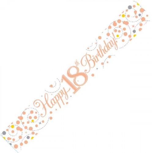 White & Rose Gold 18th Birthday Foil Banner (9ft)