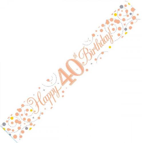 White & Rose Gold 40th Birthday Banner (9ft)