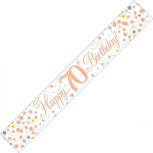 White & Rose Gold 70th Birthday Foil Banner (9ft)