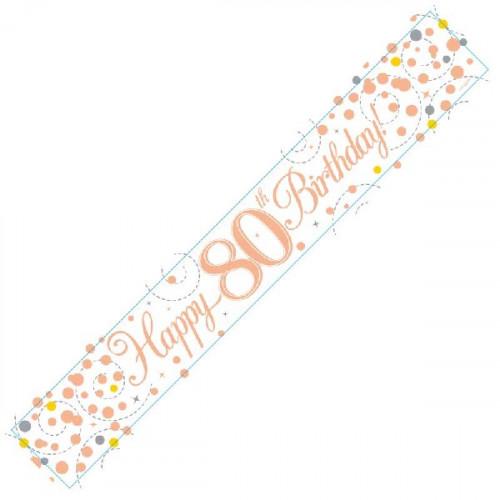 White & Rose Gold 80th Birthday Foil Banner (9ft)