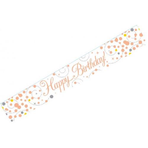White & Rose Gold Happy Birthday Foil Banner (9ft)